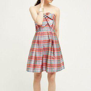 Eva Franco Bow Ribboned Plaid Dress NWT